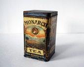 1920s Monarch Tea Tin Box Vintage Lion Orange Pekoe Art Nouveau Kitchen Storage Container Gold Rustic Metal Boho Decor 1 Pound