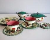 1950s Ohio Art Toy Tea Set Tin Litho 16 Piece Farm Scene Country Charm Vintage Doll Dishes Miniature Green Red Teacup Sugar Bowl Plates