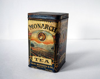 Monarch Tea Tin, 1920s Tin Box, Rustic Kitchen Container, Vintage Lion Orange Pekoe, Art Nouveau Box, Gold Metal Boho Decor, Tea Storage