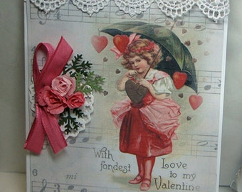 Valentine - Valentine Greeting Card - Handmade Greeting Card - Vintage Greeting Card - Embellished Greeting Card