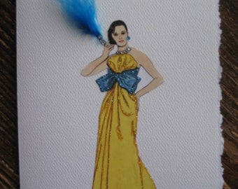 "1984 fashion illustration Bill Blass "" Lightning bolt Evening Gown"" note card"