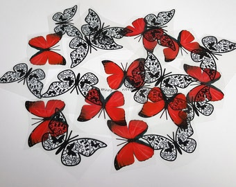 E1 Red & Black UNCUT BUTTERFLY Pack - 20 per pack - scrapbooking, card making, crafts