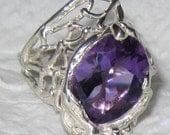 On Sale - Larger Amethyst Quartz Natural Ring handmade Sterling Silver #40