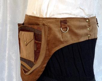 Brown velvet festival belt - plus size desert festival utility belt - Burning desert Man steampunk pocket belt - utility belt - Ex Ex Large