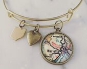 Marietta College Map Charm Bangle Bracelet - Personalized Map Jewelry - Ohio - School Pride - Alumni - Midwest - Stacked Bangle