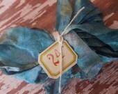 Hand Dyed Seam Binding Crinkle Ribbon Tattered Blue Hydrangea