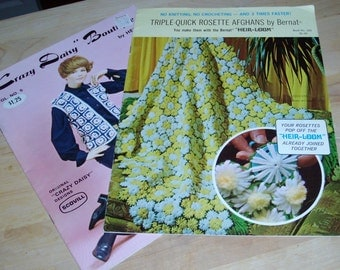 Vintage Craft Books - Rosette Afghans and Crazy Daisy Boutique
