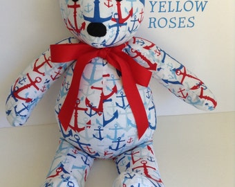 "Handmade Teddy Bear 17"" Anchor Fabric Red White Blue Read entire description before ordering"