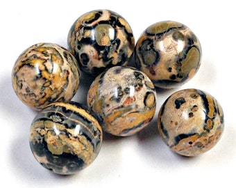 Vintage LEOPARD SKIN JASPER Beads 12mm black yellow pkg 6 rb89y