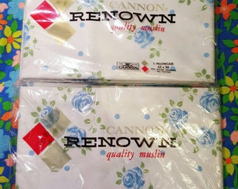 Pair of Vintage Cannon Renown Quality Muslin New Old Stock Blue Floral Pillowcases
