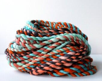 yarn, wool yarn, handspun yarn, hand spun yarn, rainbow yarn, 2ply candy cane yarn, bulky wool yarn, hand dyed yarn .. candy cane 2
