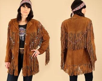 AMAZING ViNtAgE Suede Fringe Jacket Rancher by SCHOTT Bros. NYC Beaded BoHo HiPPiE Coat // Woodstock Era // Brown Leather M / L