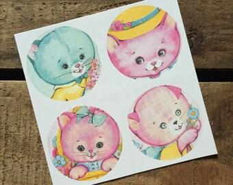 Vintage Inspired Sticker Sheet - Kittens - Crafting, Scrapbooking, Journal, Planner, Planner Stickers, Supplies, Stickers, Kitsch Stickers