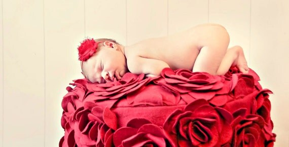 Red Infant and Toddler Headband Shabby Chic Flower Headband Newborn Baby Girl Headband