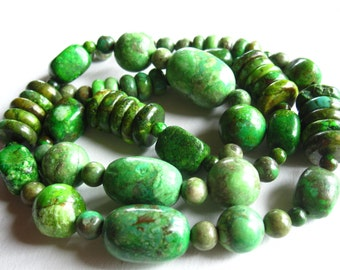 Complete Designer Strand Green Chinese Turquoise Mixed shapes - 21 inches