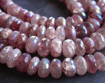 8mm Mystic Lepidolite Included Quartz - sapphire pink - semiprecious gemstone - faceted rondelles - 6 1/4 inches