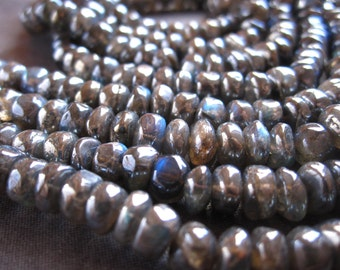 Mystic Blue FIre Labradorite smooth rondelle stone beads - 6mm X 4mm - 6 1/2 inch strand