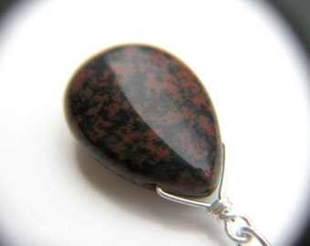 Crystals for Strength . Mahogany Obsidian Necklace Pendant . Simple Drop Necklace . Crystals for Confidence - Andromeda Collection