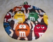 M and M, Hot Pad, Hot Pads, Pot Holder, Pot Holders, M and M Potholder, M and M Potholders, Quilted, Cotton, Insulated, Trivet, 9 Inches