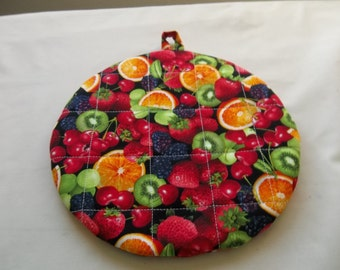 Mixed Berries Fruit, Quilted Pot Holders, Potholders,  Hot Pads, Trivet Round, Kitchen Decor, Novelty Cotton, 9 Inches, Gift Mom
