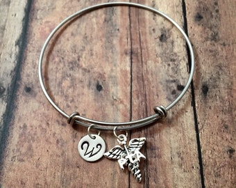 Physical therapy assistant initial bangle - PTA medical bracelet, caduceus bracelet, PTA bracelet, gift for physical therapy assistant