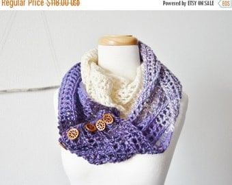 Sale Women's Infinity Scarf / Button Up Cowl - Ombre Purple Lace Loop With Wooden Buttons - Boho, Spring Fashion, Indie Design Wrap Scarf