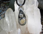 Gold Rutilated Quartz Pendant, Herkimer Diamond, Raw Crystal, Sterling Silver, Silversmith Jewelry, Stamped