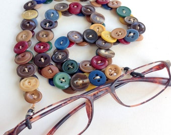 Eyeglass Chain in Multi Colored Vintage Buttons