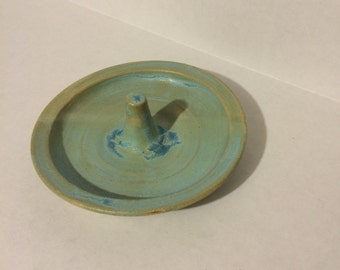 RING holder, jewelry bowl, green and blue, ready to ship, handmade, ceramic, pottery/ stoneware/gift