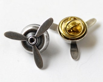Silver Airplane Propeller Tie Tack, Pilot Tie Tack, Aviator Jewelry, Spinning Propellers, Pilot Gift, Steampunk Propeller Tie Tack