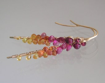 Pink Tourmaline Stems, Gold Filled Sapphire Earrings, Wire Wrapped Jewelry, Fiery Gemstone Linear Dangles, Original Design, Signature