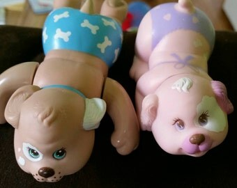 Puppy surprise 1993 hasbro bath time boy and girl pair swimmer and spitter rare hard to find