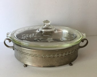 Very Early RARE Pyrex Casserole Dish Clear Glass with Floral Etched Lid and Metal Stand Holder 1910's CG Monogram Reverse Dollar Sign