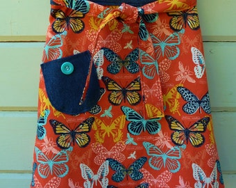 1970s Wrap Skirt Reversible for Back to School Ready to Ship in Size 5