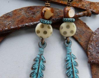 Green Patina Feather Charm Earrings