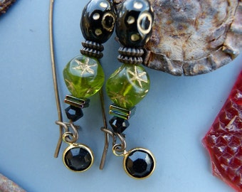 Black and Olive Earrings on Long Brass Kidney Wires