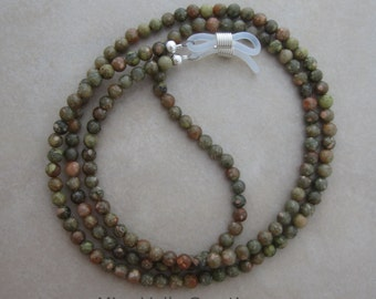 autumn jasper eyeglass chain holder silver ends