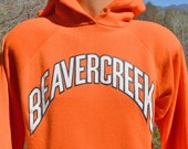 vintage 70s sweatshirt hoodie BEAVERCREEK colorado ski raglan 80s hoody Large XL ohio healthknit