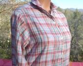 vintage 70's western blouse PLAID round collar button down shirt silver metallic lurex Medium women