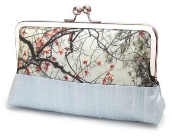 Magnolia clutch bag, blue silk purse, bridesmaid clutch, SPRING BLOSSOM