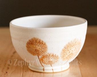 Stoneware Bowl - Made to Order - Salad Bowl - Pasta Bowl - Pottery Bowl - Cereal Bowl - Soup Bowl - Botanical Bowl - Dandelion Wish Puff