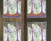 Two Trees Batik Print Patches - Set of Four