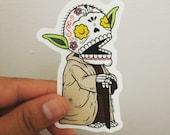 Old Yoda Calavera Die Cut Vinyl Sticker