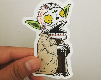 Old Yoda Calavera Die Cut Vinyl Sticker