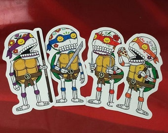 Day of the Dead Ninja Turtle Calaveras Vinyl Sticker 4-Pack