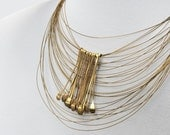 Rich Gold Necklace, Gold Tattoo Necklace, Gold Necklace, Modern Gold Statement Necklace, Gold Chain, Tribal Jewelry,