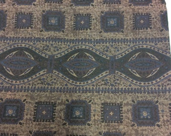 Border Print Vintage 1950s Brown and Blue Cotton Fabric - 1 1/3 Yards - Fabric Yardage / Fabric Yardage / Cotton Fabric/ 1950s Fabric / 50s