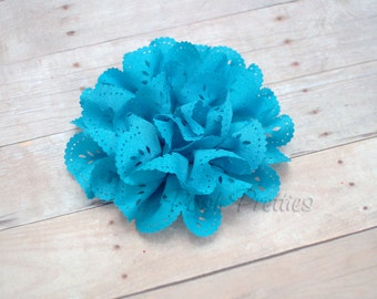 Turquoise Eyelet Lace Flower Hair Clip - Lace Flower -