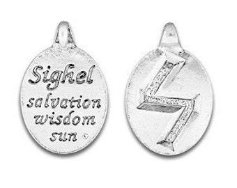 Set of two Rune Pendant, Sighel Rune Symbol, Norse Symbol, Celtic Symbol, Sigil Rune, Ger, Salvation, Wisdom, Sun, Pewter, Made in USA