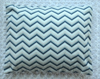 The Perfect Toddler Pillow ... Blue Gray Dot Chevron on White Flannel  ... Original Design by Sew Cinnamon